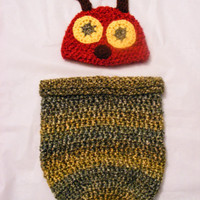 Very Hungry Caterpillar Crochet Hat and Coccon Set 0-3 Month Size Perfect Halloween Costume or Newborn Photo Prop