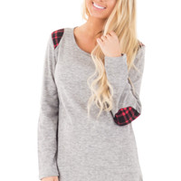 Heather Grey Plaid Elbow Patch Detail Fleece Top