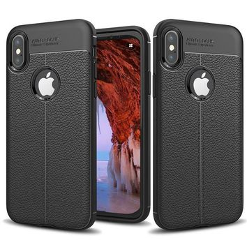ONETOW iPhone X Case, cresawis Lightweight Ultra Slim Thin Carbon Fiber Scratch Resistant [Shock Absorption] Soft TPU Protective Cover For iPhone X [BLACK] (black)