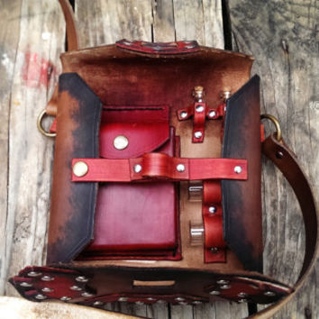 Leather Steampunk Bag Purse Gear Red