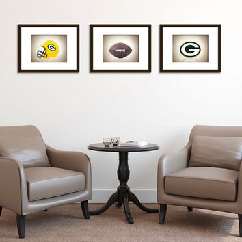 Weekend Sale Discount set of 3 Green Bay Packers photo print,boys room decor,kids room decor,Green Bay Packers decor,football decor, packers