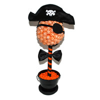 Ready To Ship Lollipop Pirate Topiary (Black/Orange)