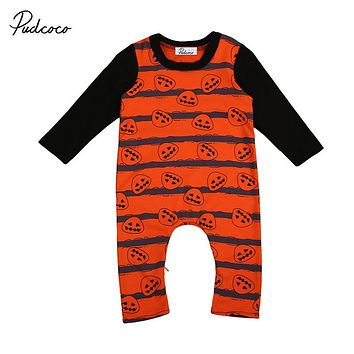 Halloween Baby Boys Long Sleeve Romper Autumn Cute Newborn Baby Pumpkin Print Romper Costume Outfit  New Warm Jumpsuit