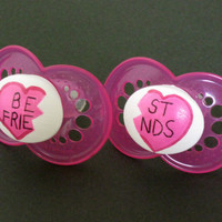 New - BEST FRIENDS - Hand Painted Pacifier Set