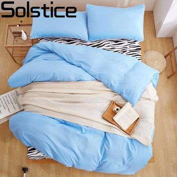 Solstice Home Textile Orange Sky Blue Multi-color Solid Color 4pcs Bedding Set Zebras Tripe Duvet Cover Set Bed Linens Bed Sheet