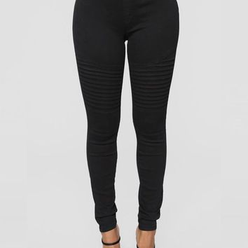 New Black Pleated Pockets High Waisted Casual Long Pants