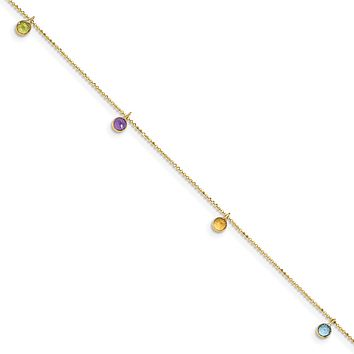 14k 9 Inch Multi-colored Gemstone Anklet ANK145