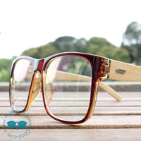Bamboo Wood Glasses - ECO Friendly Vintage Oversize Square Eyewear {Brown}