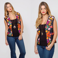 Vintage 70s EMBROIDERED Boho Vest ETHNIC Hippie Vest Black Gypsy Top Bright FLORAL Festival Vest