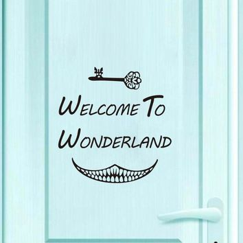 Welcome To Wonderland Key Wall Sticker Alice In Wonderland Vinyl Door Decal Diy Art Wallpaper For Kids Room Home Decoration
