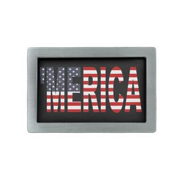 'MERICA US Flag Belt Buckle from Zazzle.com