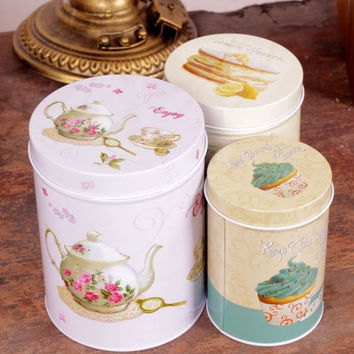 3 Pcs Retro Vintage Tea Pot Cake Cupcake Kitchen Coffee Tea Sugar Candy Biscuit Container Jar Tin Metal Zakka