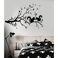Vinyl Decal Tree Branch Romantic Decor Squirrel Love Wall Stickers Unique Gift (ig2960)