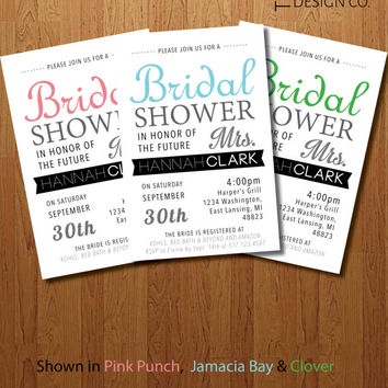 "Printable Bridal Shower Invite - Digital Bridal Shower Invite - Personalized Bridal Shower Invite - ""The Hannah"""