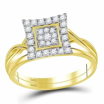 10kt Yellow Gold Womens Round Diamond Square Cluster Bridal Wedding Engagement Ring Band Set 1/3 Cttw - FREE Shipping (US/CAN)