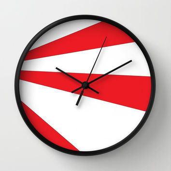 Abstract Red Sunburst Wall Clock by MD Designs