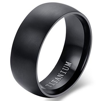 8mm Black Titanium Dome Wedding Ring Vintage Engagement Promise Band Matte Finish