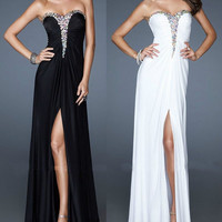 Full-Length Chiffon Formal Party / Bridesmaid / Evening / Prom Gown, sexy beaded cocktail dress