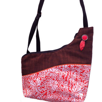 Orange and White Fireworks Handmade Asymmetrical Shoulder Bag