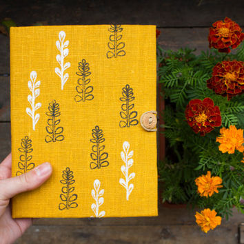 Journal with herbal pattern, handmade notebook, yellow journal, homemade paper, unique gift