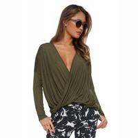 Green Deep V-neck Long Sleeve Wrapped Blouse