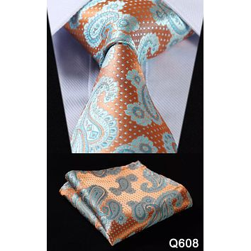 Men's Silk Coordinated Tie Set - Orange Teal Polka Dot Paisley