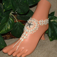 Beach Wedding Barefoot Sandals, Starfish, Bridal, Anklet, Foot Jewelry, Footless, Crochet Accessories