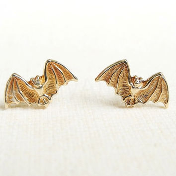 Bat Stud Earrings,Tiny Brass Bat Earrings,Halloween Earrings,Bat Jewelry,Batman Batgirl Earrings,Dracula Jewelry,Gothic Jewelry (E238)