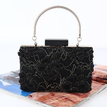 Luxury Famous Designers Evening Bag Black Beading Flower Holiday Party Clutch Purse Bag Day Clutches Prom Ladies Vintage Handbag