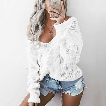 Deep V Neck Sexy Twist Detail Cable Knit Sweater