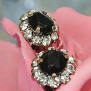 1940s 50s Rhinestone Earrings Black Glass and Crystal Earrings Screw Back Antique Hollywood Regency Earrings Pat Apld M Arrows Mark Button