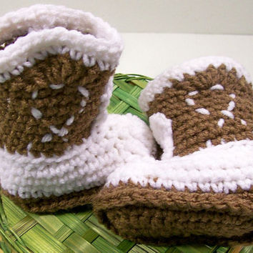 Baby Cowboy Boot Brown and White--Crochet --Made in the USA--Baby Shower Gift--