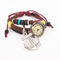 Leather Belt Watch with Anchor Pendant and Wooden Beads QTN136
