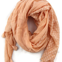 Daisey Fields Scarf in Peach