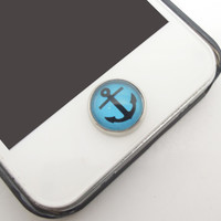 1PC Glass Epoxy Transparent Times Gems Anchor Alloy Cell Phone Home Button Sticker Charm for iPhone 6, 4s,4g,5,5c Kids Gift for Boy or Men