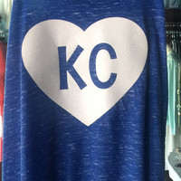 KC Glitter Heart Tank Racerback: Heathered Royal w/ White Heart
