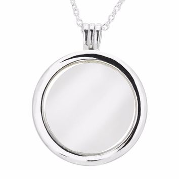 CKK Genuine 925 Sterling Silver Necklace Large Size Floating Locket Silver Pendant Necklace 75cm Link Chain Fit Petites Beads