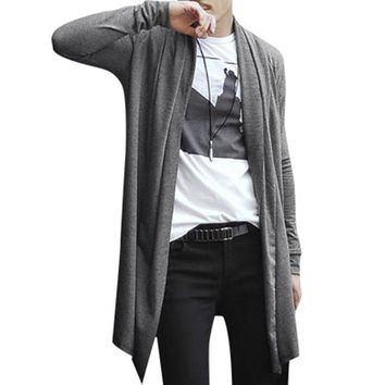 2017 NEW mens hoodies and sweatshirts sudaderas hombre hoodie Long Cardigan Shawl Collar Front Opening Side