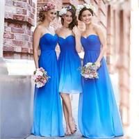 Cheap Ombre Blue Bridesmaid Dresses in Stock Sweetheart Pleat Long Chiffon Beach Bridesmaid Dress Wedding Party Gowns