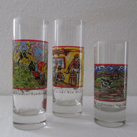 14-1139 Vintage 1990s Vincent Van Gogh Glasses / Spirits By Vincent Van Gogh / Tall Glasses / Art Glasses / Van Gogh / Cocktail Glasses
