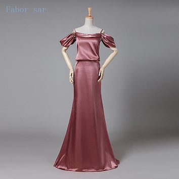 Silver Spaghetti Strap Silk Satin Mermaid Evening Dresses Sweep Train Custom Size Formal Evening Gowns Wedding Party Guest Dress