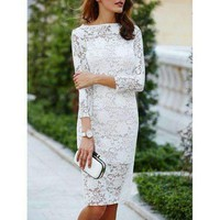 Lace Cut Out Off The Shoulder Fitted Knee Length Wedding Dress With Sleeves - White M