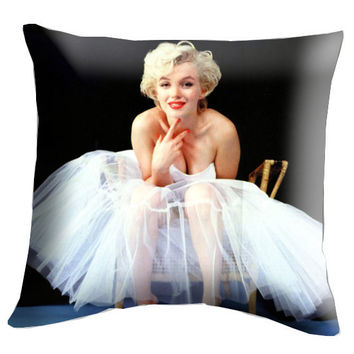 "Marilyn Monroe Pillow Cover, Pillow case, Throw Bed Bedroom, Size 18"" x 18"""