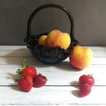 Fenton Glass Basket/ Ebony Glass Fenton Basket/ Fruit Basket/ Fenton Vase/ Vintage Glass Collectible