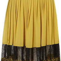 Lace Insert Pleated Skirt - Skirts  - Clothing  - Topshop