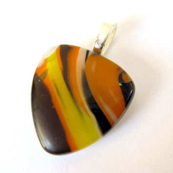 Fused Glass Pendant, Glass Jewelry, Glass Slide, - Orange Swirl - by mysassyglass