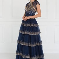GL1591 Layered Tulle Halter Ball Gown Dress with Jewels and Bolero