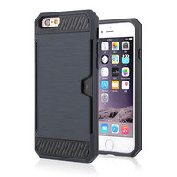 DEFENDER CARD HOLDER IPHONE CASE BLACK