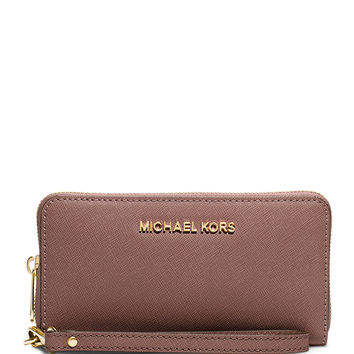 Jet Set Travel Saffiano Multifunction Tech Wristlet Wallet, Dusty Rose - MICHAEL Michael Kors
