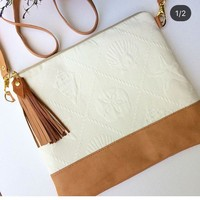 Sea shell embossed crossbody